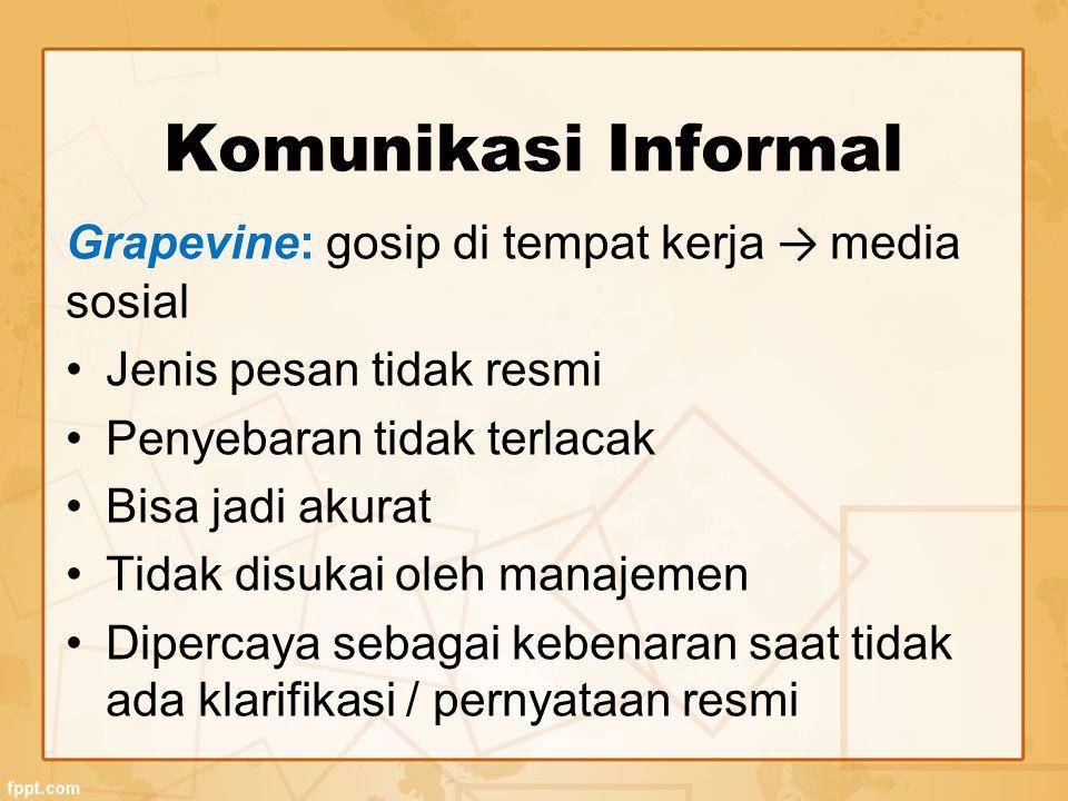 Komunikasi Informal Grapevine: gosip di tempat kerja → media sosial