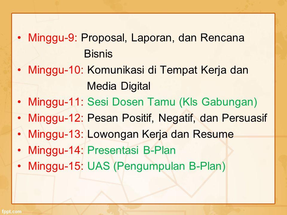 Minggu-9: Proposal, Laporan, dan Rencana