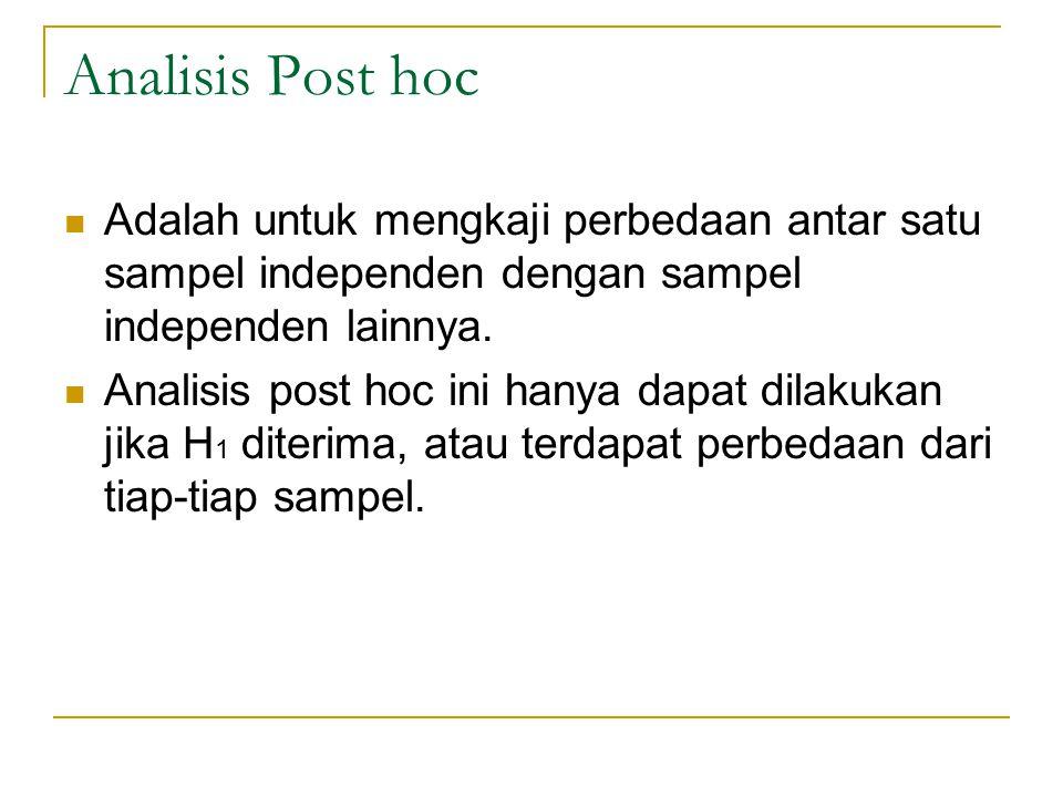 Analisis Post hoc Adalah untuk mengkaji perbedaan antar satu sampel independen dengan sampel independen lainnya.