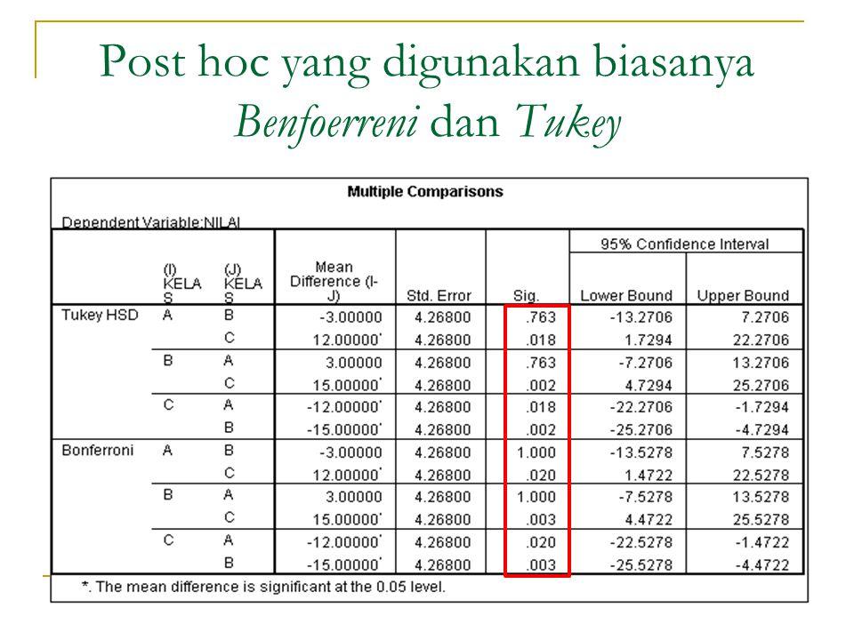 Post hoc yang digunakan biasanya Benfoerreni dan Tukey
