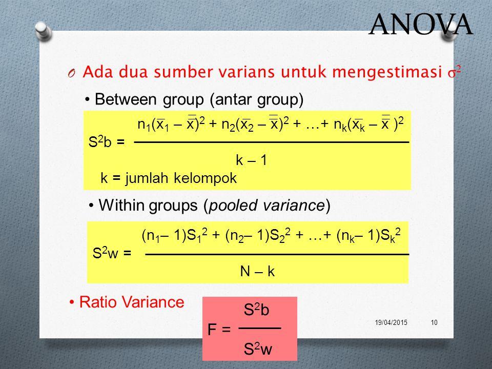 ANOVA Ada dua sumber varians untuk mengestimasi σ2