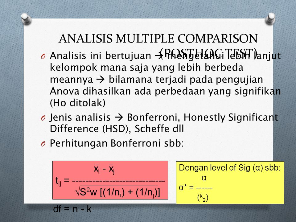 ANALISIS MULTIPLE COMPARISON (POSTHOC TEST)