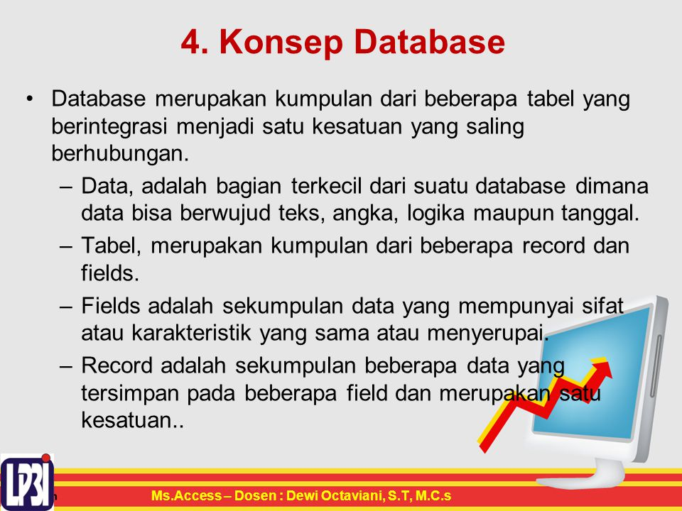 4. Konsep Database Database merupakan kumpulan dari beberapa tabel yang berintegrasi menjadi satu kesatuan yang saling berhubungan.