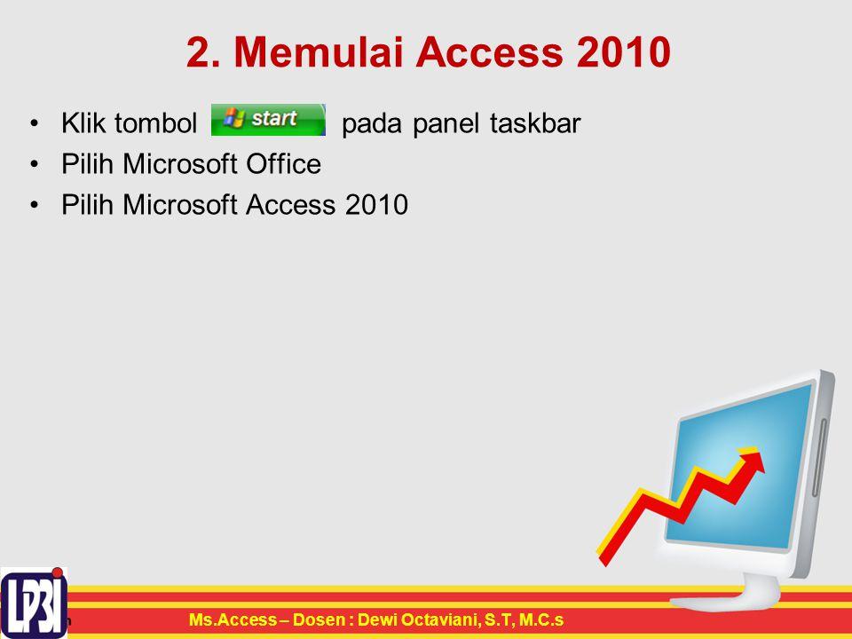 2. Memulai Access 2010 Klik tombol pada panel taskbar