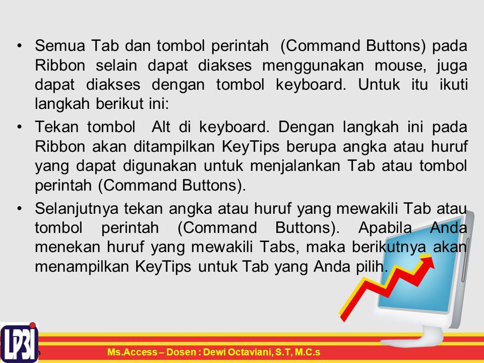 Semua Tab dan tombol perintah (Command Buttons) pada Ribbon selain dapat diakses menggunakan mouse, juga dapat diakses dengan tombol keyboard. Untuk itu ikuti langkah berikut ini:
