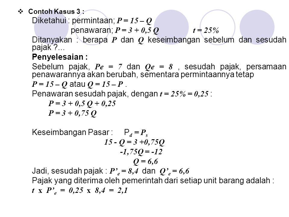 Diketahui : permintaan; P = 15 – Q penawaran; P = 3 + 0,5 Q t = 25%