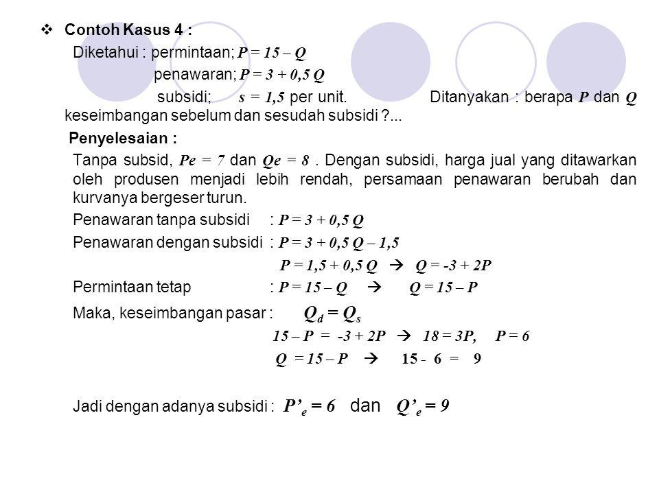 Contoh Kasus 4 : Diketahui : permintaan; P = 15 – Q. penawaran; P = 3 + 0,5 Q.