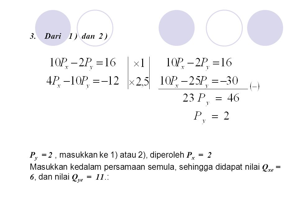 Dari 1 ) dan 2 ) Py = 2 , masukkan ke 1) atau 2), diperoleh Px = 2.