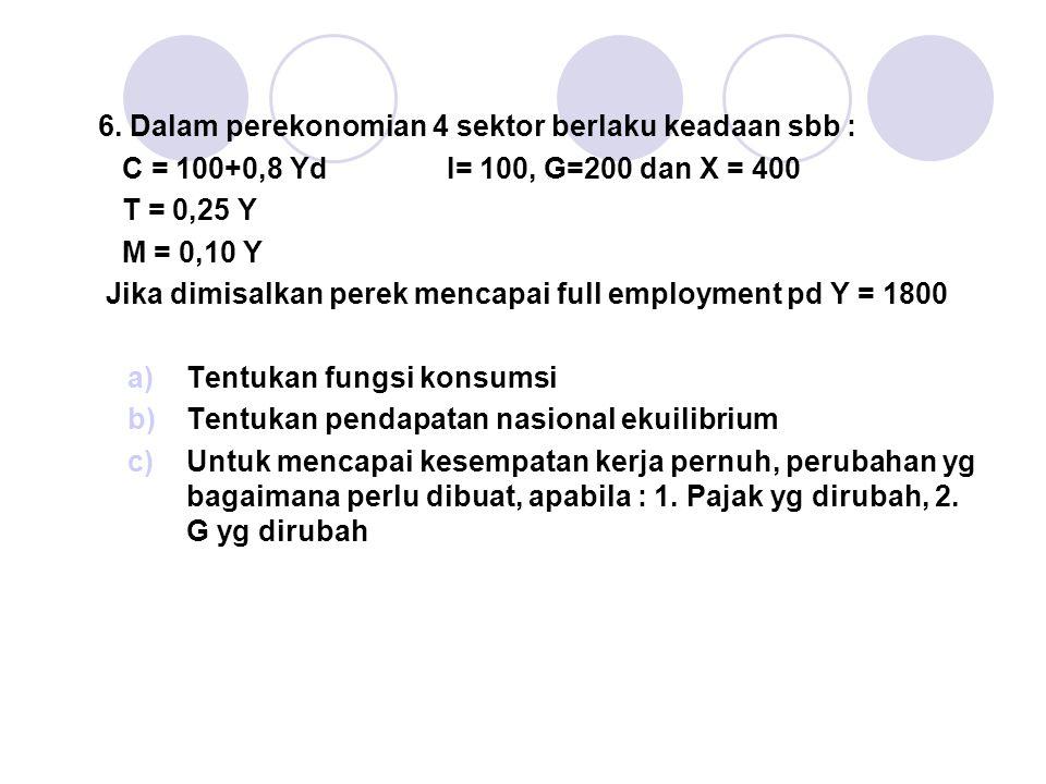 6. Dalam perekonomian 4 sektor berlaku keadaan sbb :
