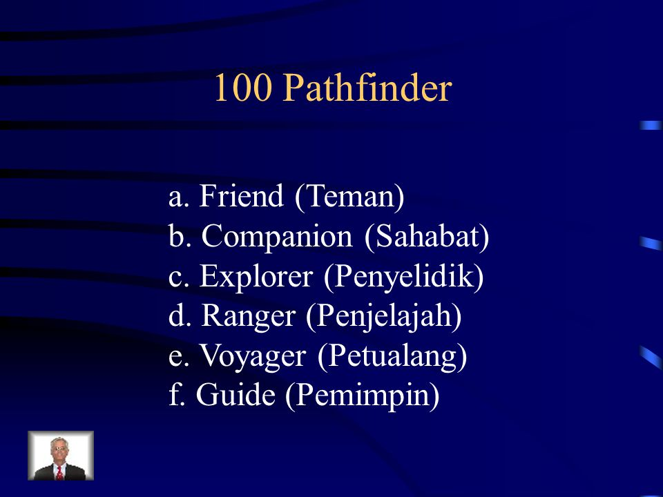 100 Pathfinder a. Friend (Teman) b. Companion (Sahabat)