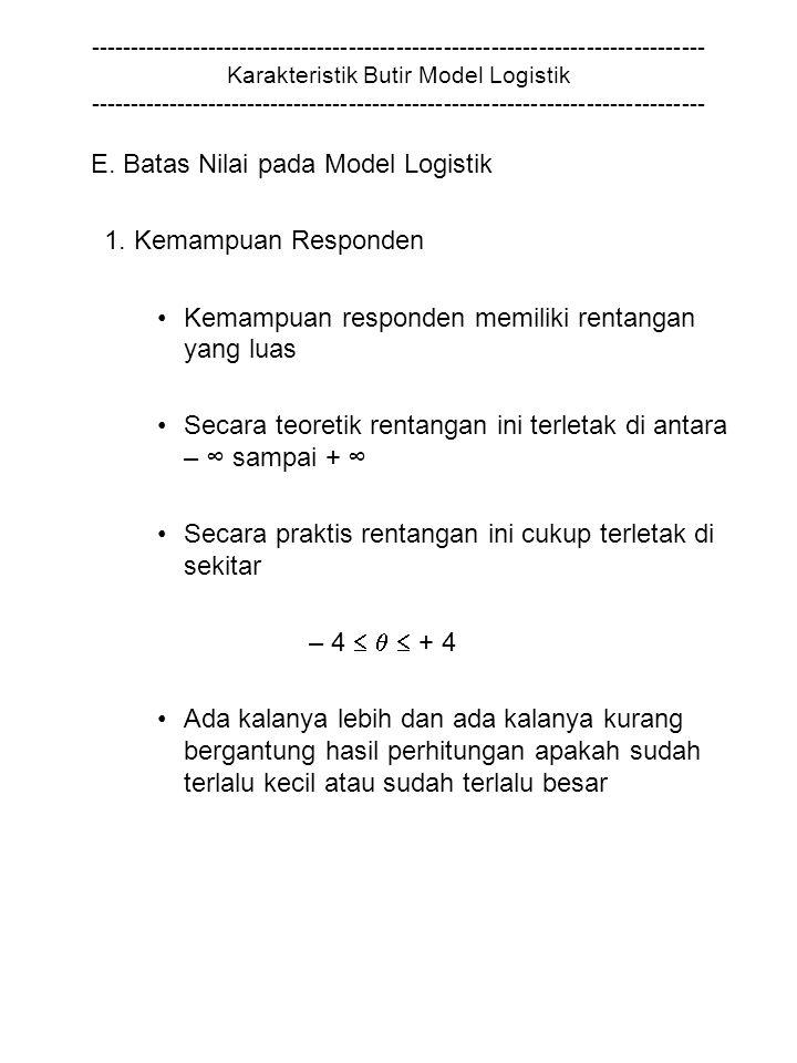 E. Batas Nilai pada Model Logistik 1. Kemampuan Responden