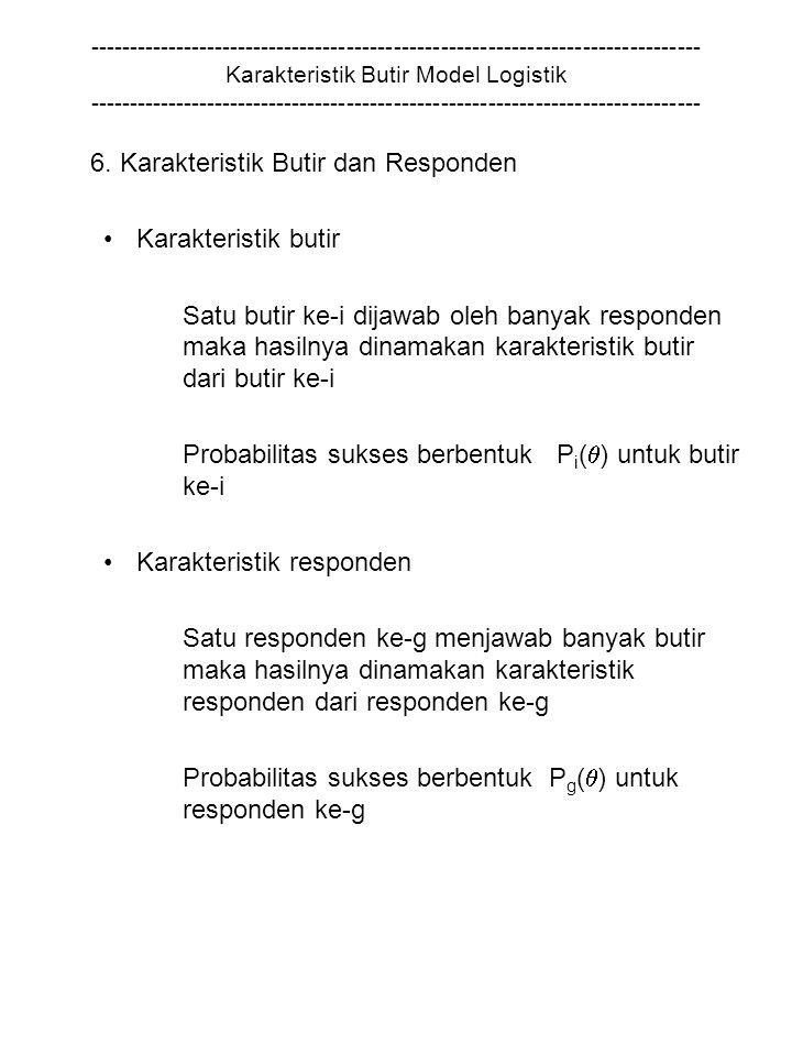6. Karakteristik Butir dan Responden Karakteristik butir