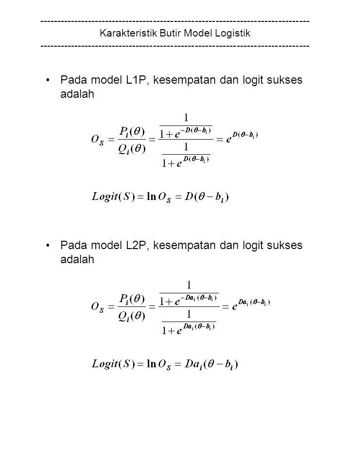 Pada model L1P, kesempatan dan logit sukses adalah