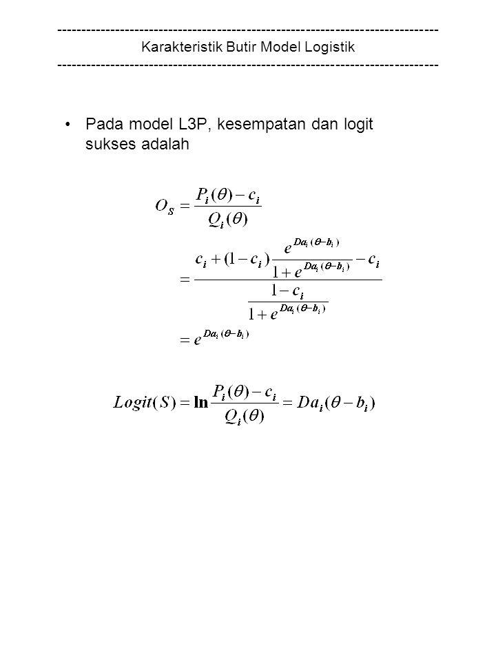 Pada model L3P, kesempatan dan logit sukses adalah