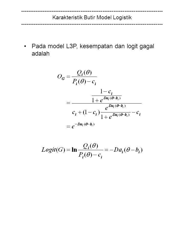 Pada model L3P, kesempatan dan logit gagal adalah
