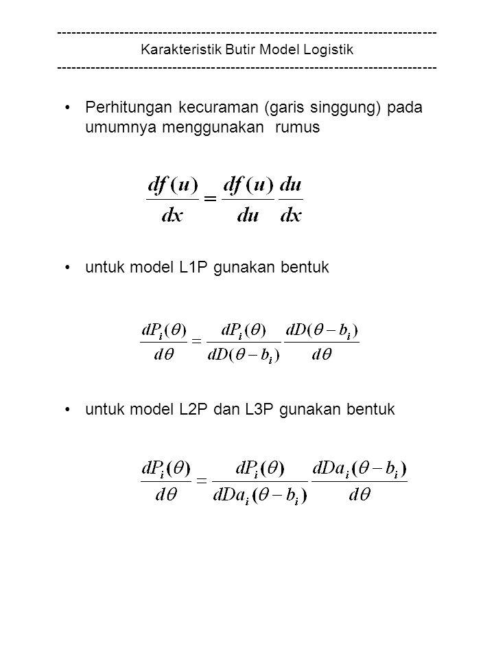 Perhitungan kecuraman (garis singgung) pada umumnya menggunakan rumus