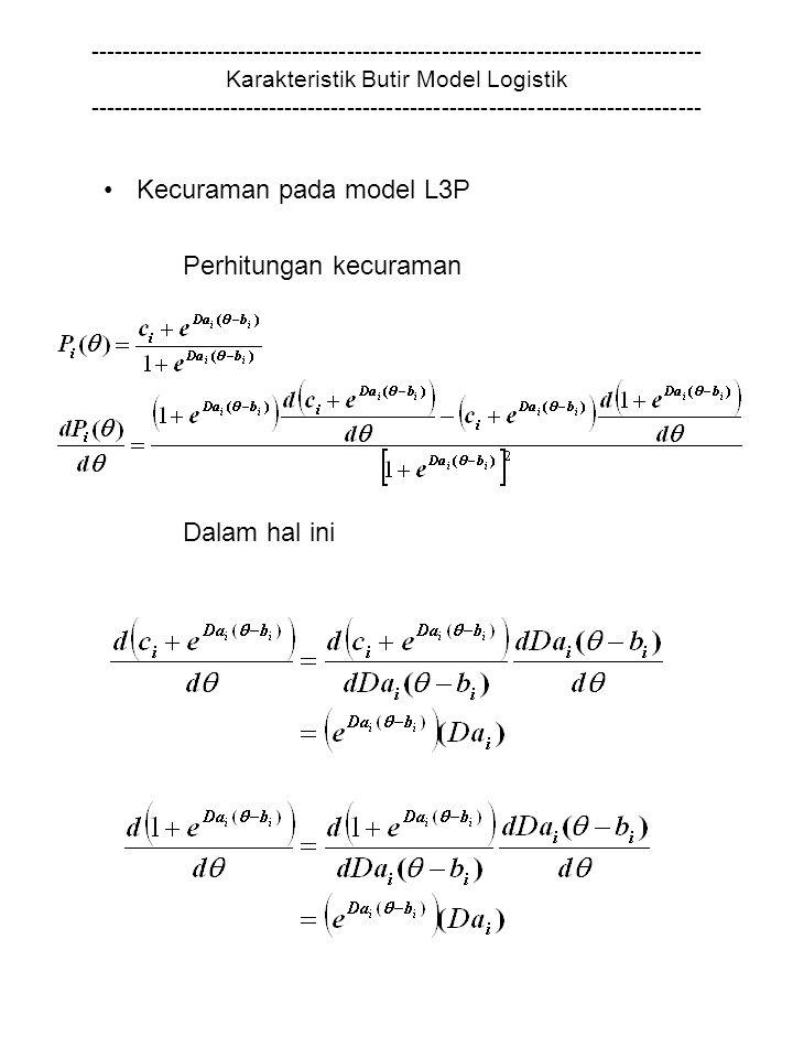 Kecuraman pada model L3P Perhitungan kecuraman