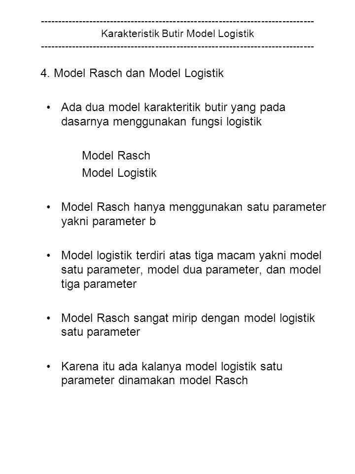 4. Model Rasch dan Model Logistik