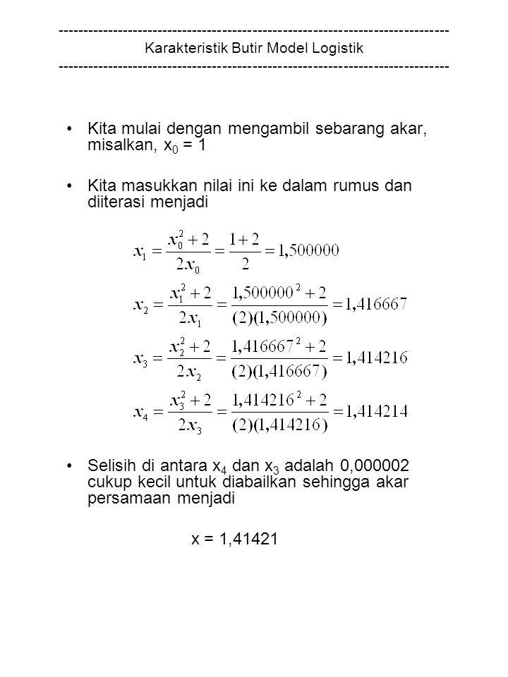 Kita mulai dengan mengambil sebarang akar, misalkan, x0 = 1