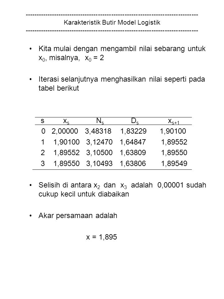 Kita mulai dengan mengambil nilai sebarang untuk x0, misalnya, x0 = 2