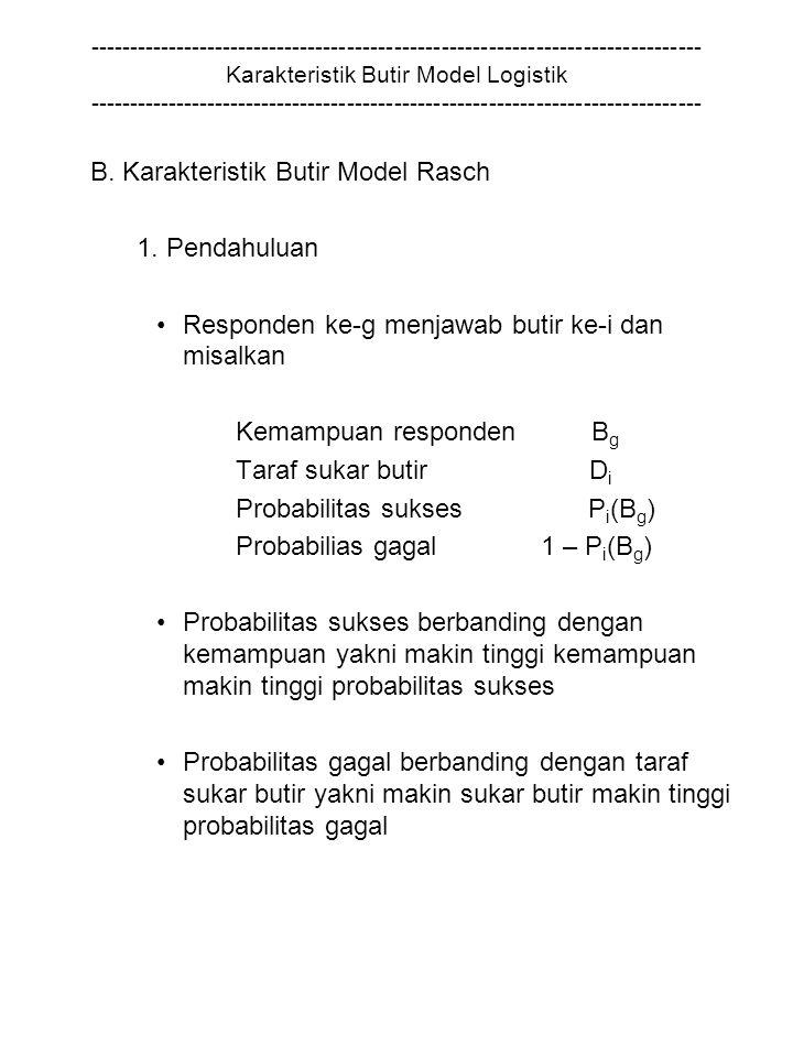 B. Karakteristik Butir Model Rasch 1. Pendahuluan