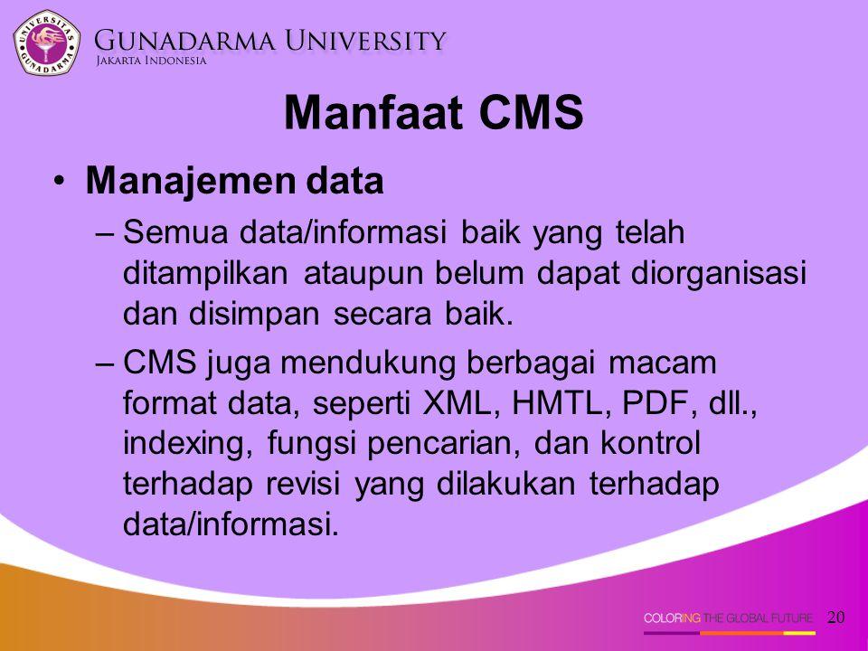 Manfaat CMS Manajemen data