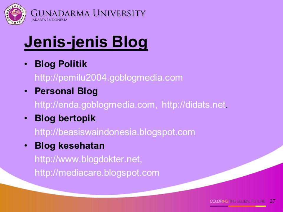 Jenis-jenis Blog Blog Politik http://pemilu2004.goblogmedia.com
