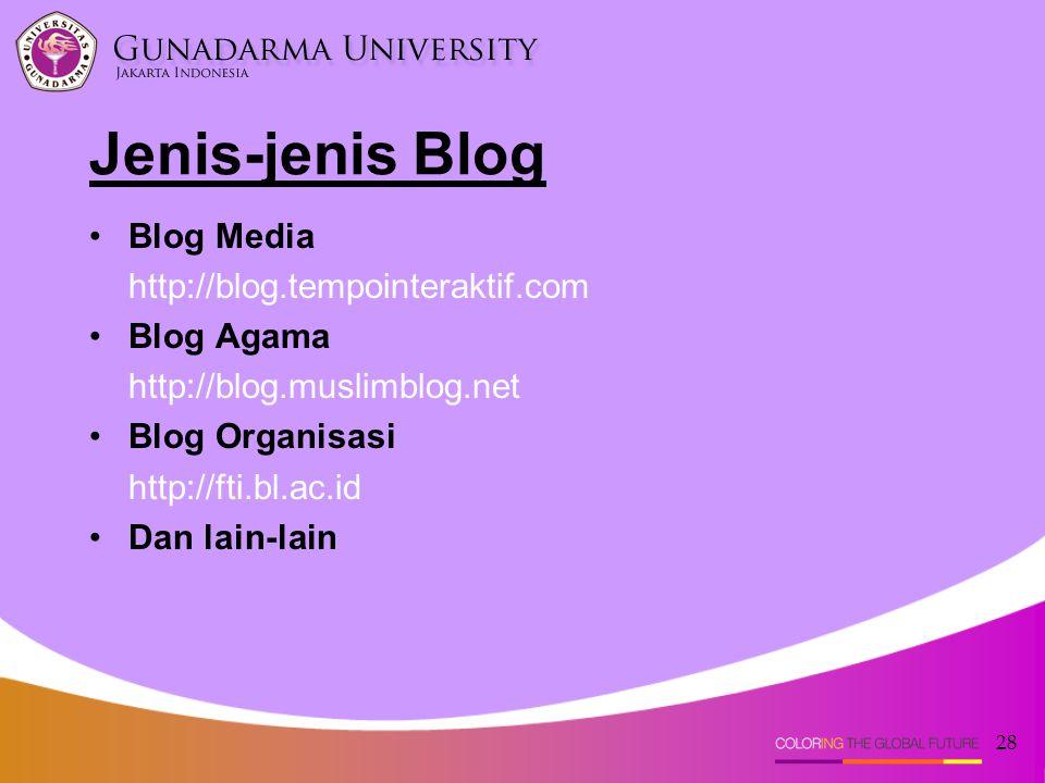 Jenis-jenis Blog Blog Media http://blog.tempointeraktif.com Blog Agama