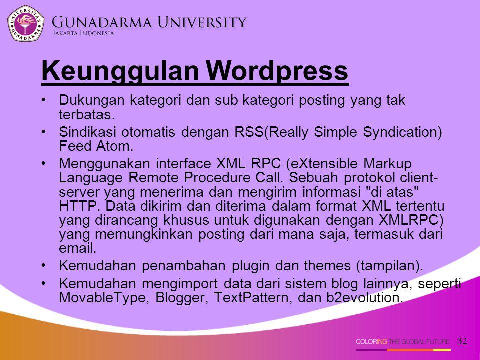 Keunggulan Wordpress Dukungan kategori dan sub kategori posting yang tak terbatas.