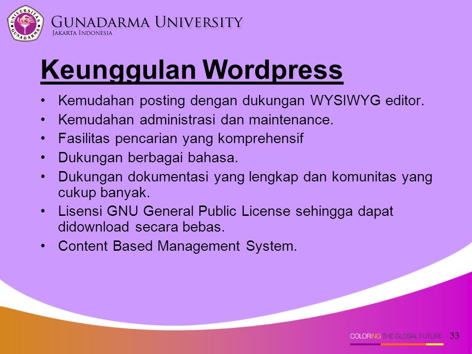 Keunggulan Wordpress Kemudahan posting dengan dukungan WYSIWYG editor.