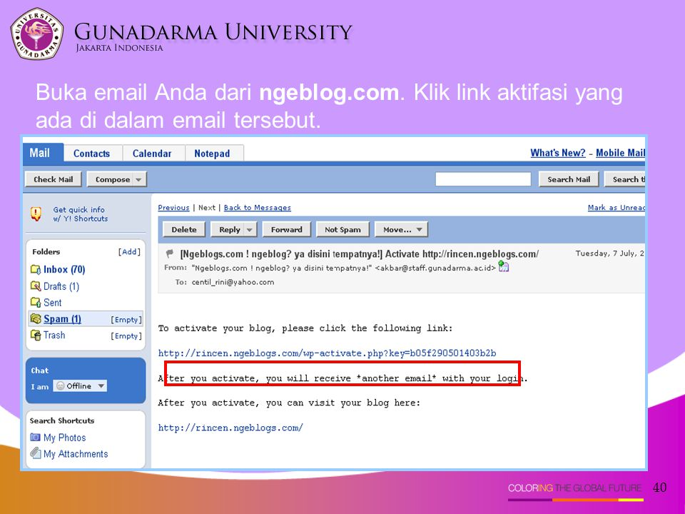 Buka email Anda dari ngeblog. com