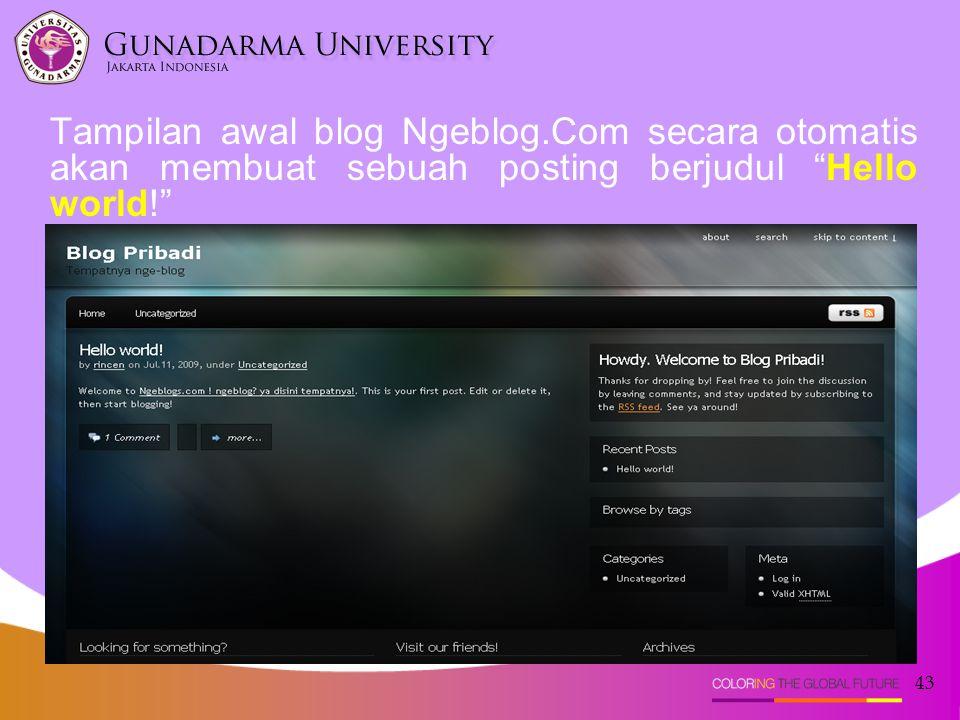 Tampilan awal blog Ngeblog