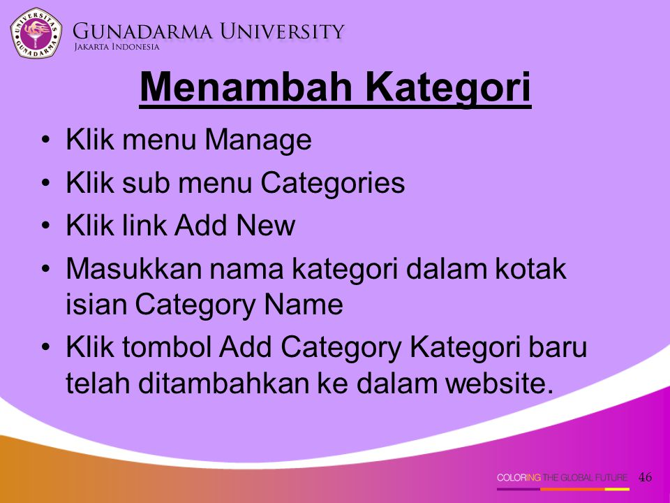 Menambah Kategori Klik menu Manage Klik sub menu Categories