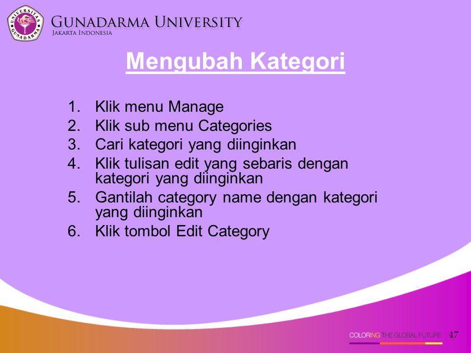 Mengubah Kategori Klik menu Manage Klik sub menu Categories
