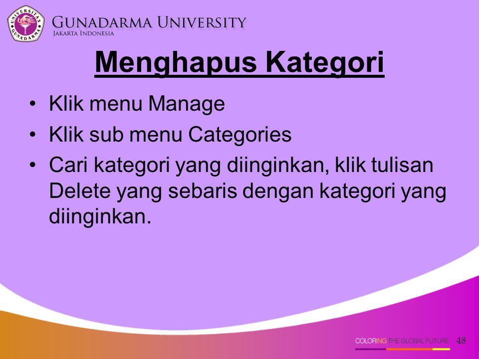 Menghapus Kategori Klik menu Manage Klik sub menu Categories