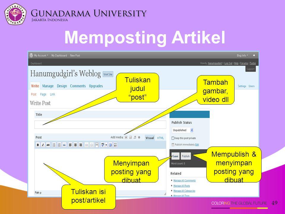 Memposting Artikel Tuliskan judul post Tambah gambar, video dll