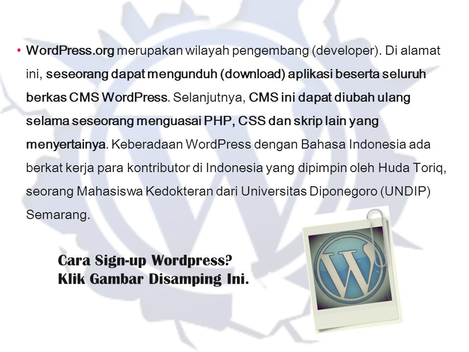 Cara Sign-up Wordpress Klik Gambar Disamping Ini.