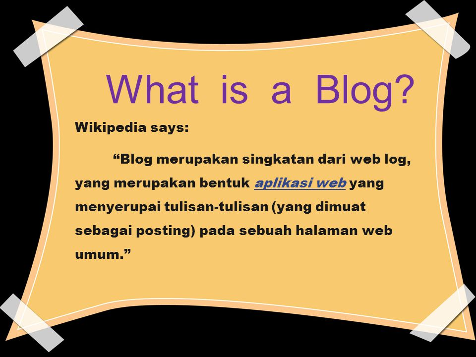What is a Blog Wikipedia says: