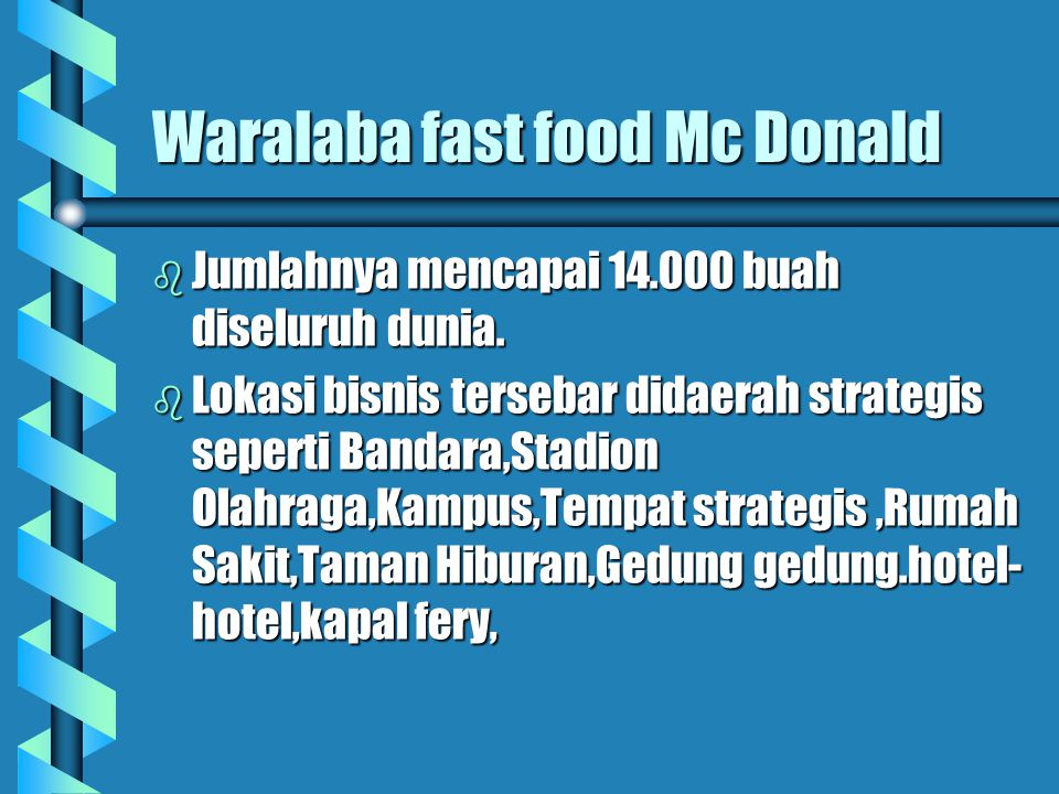 Waralaba fast food Mc Donald