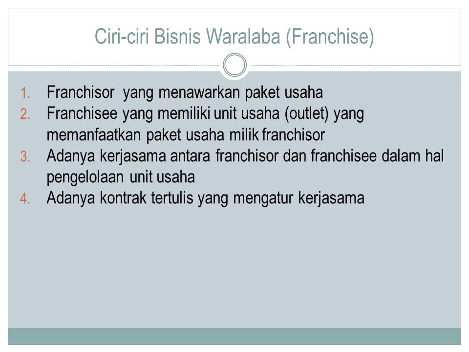 Ciri-ciri Bisnis Waralaba (Franchise)
