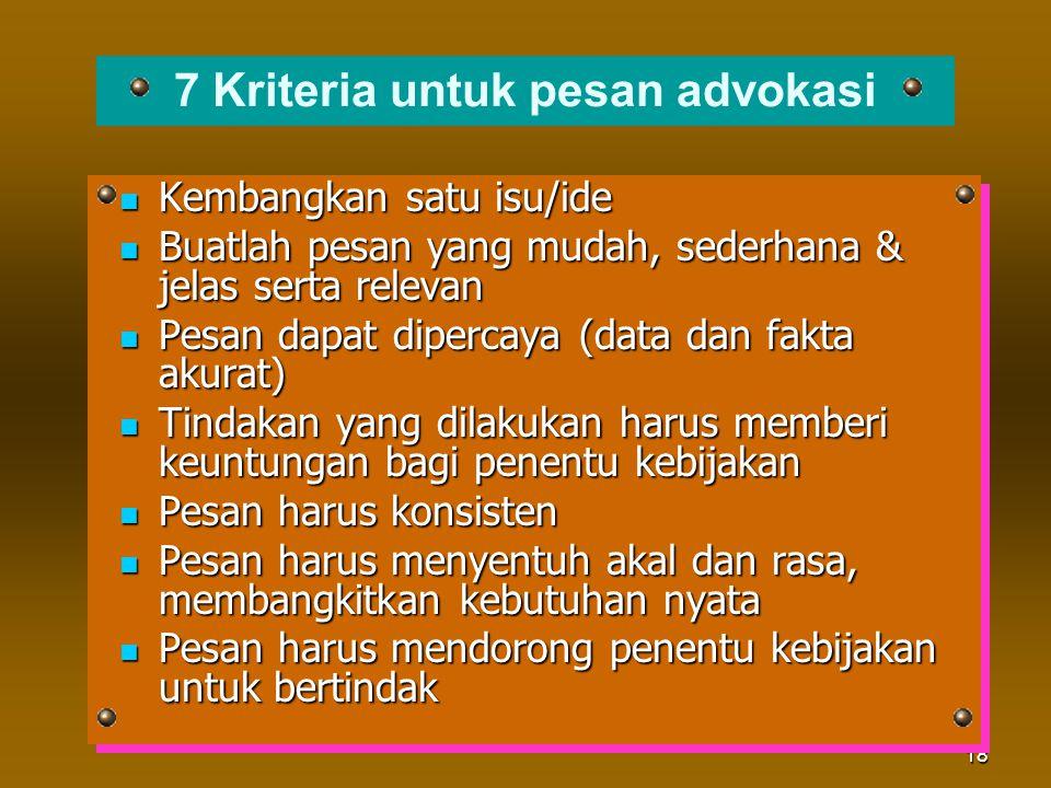 7 Kriteria untuk pesan advokasi
