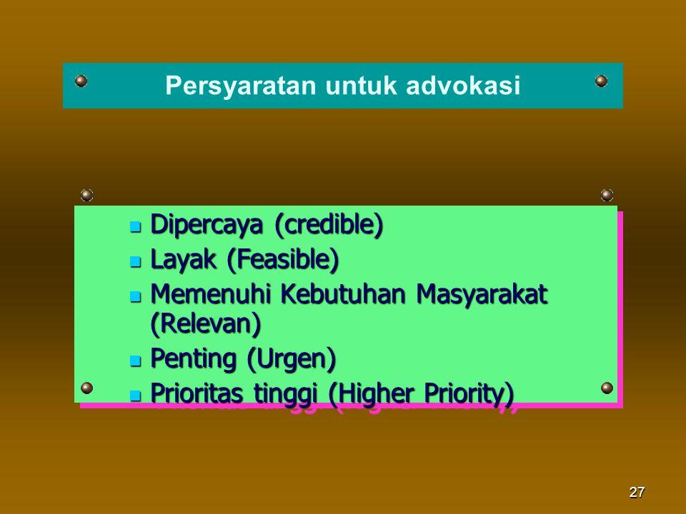 Persyaratan untuk advokasi