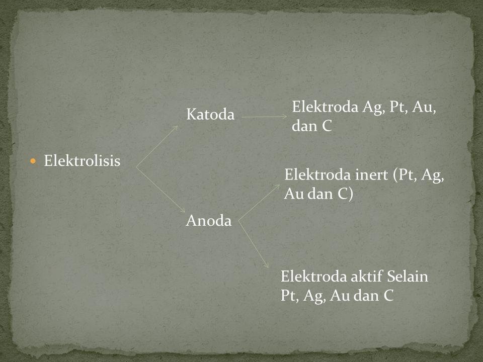 Elektrolisis Elektroda Ag, Pt, Au, dan C. Katoda.