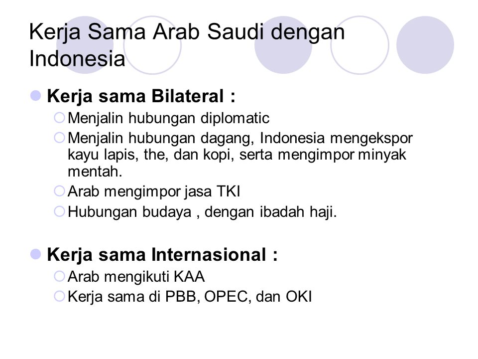 Kerja Sama Arab Saudi dengan Indonesia