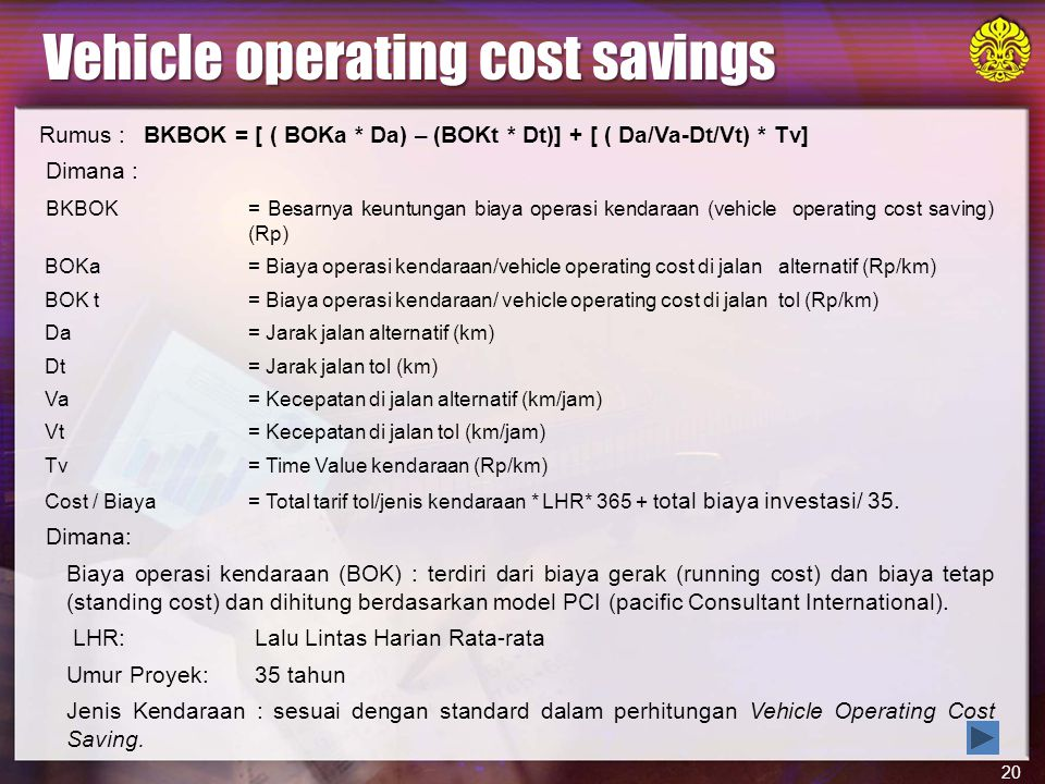 Vehicle operating cost savings