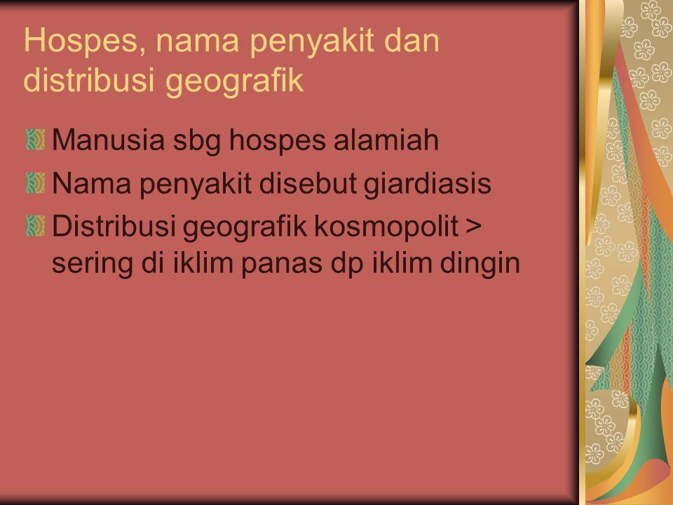 Hospes, nama penyakit dan distribusi geografik