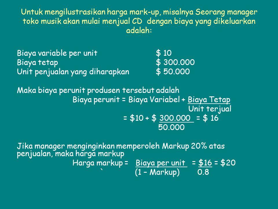 Untuk mengilustrasikan harga mark-up, misalnya Seorang manager toko musik akan mulai menjual CD dengan biaya yang dikeluarkan adalah: