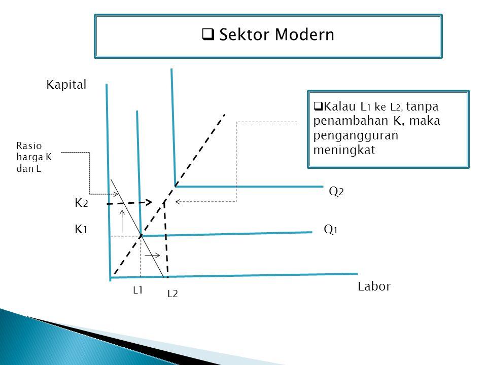 Sektor Modern Kapital. Kalau L1 ke L2, tanpa penambahan K, maka pengangguran meningkat. Rasio harga K dan L.