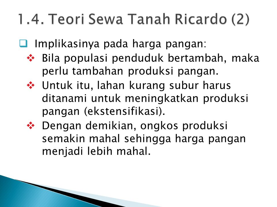 1.4. Teori Sewa Tanah Ricardo (2)