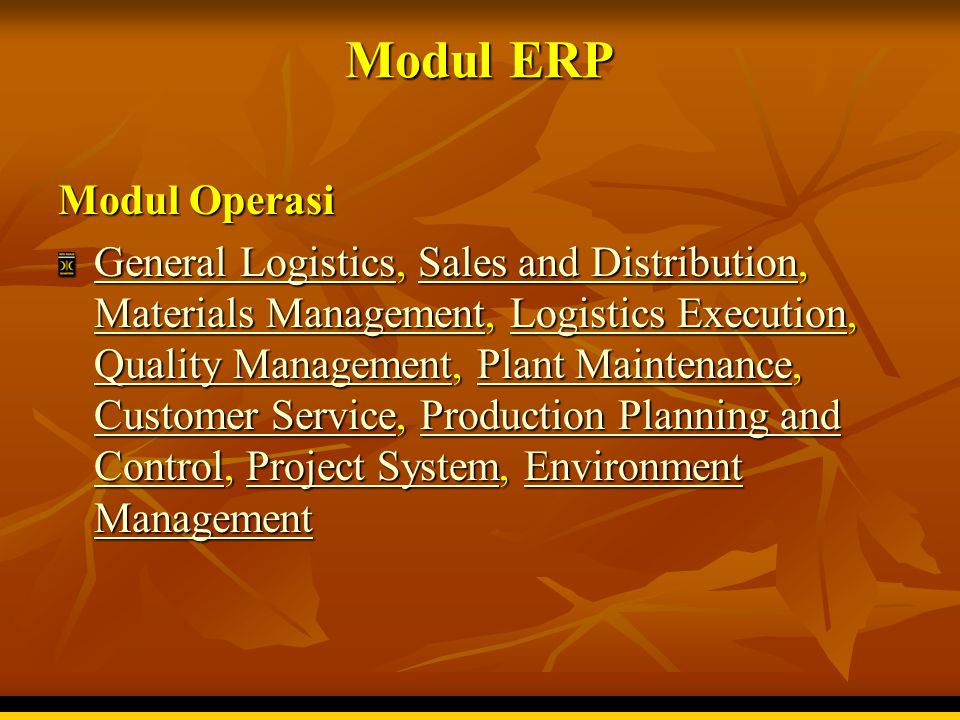 Modul ERP Modul Operasi